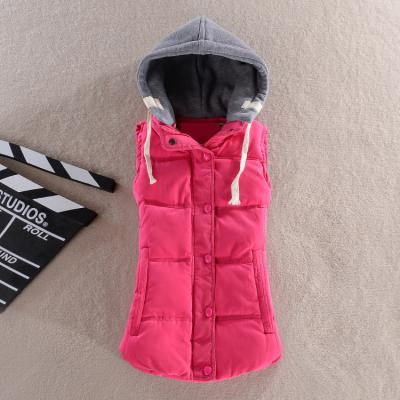 2016 women's cotton wool collar hooded down vest slim casual solid Hot high quality Brand plus size winter warm Jacket Outerwear