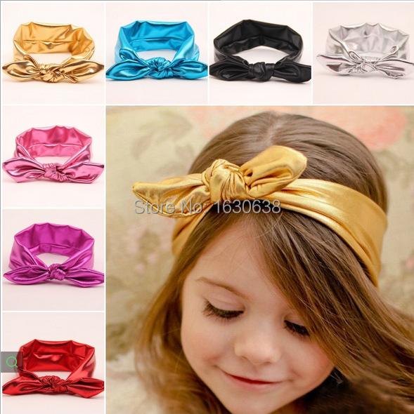 2015 Metallic Messy Baby Girl Headband Jersey knot Headwrap Infant Toddle Headband Rabbit Head Wrap Hair Accessories(3pcs)(China (Mainland))
