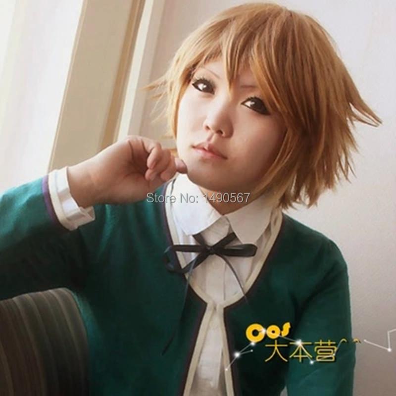Danganronpa: Trigger Happy Havoc Fujisaki Chihiro Short Blonde Cosplay Wig