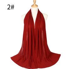 Большие размеры, высокое качество, мятая, пузырчатая, шифоновая, однотонная, сморщенная шаль, плиссированная повязка для головы хиджаб мусу...(China)