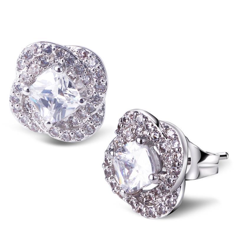 Women Romantic Flower Shape Small Stud Earrings Lead Free Platinum Plated AAA Cubic Zirconia Cutie New Fashion Jewelry - ANGEL in store