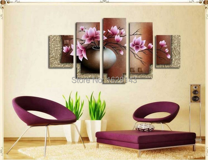 100% Hand painted 5 Panel Wall Art Flowers Oil Painting on Canvas Landscape Purple Orchid Home Decor Modern Abstract Picture Set(China (Mainland))