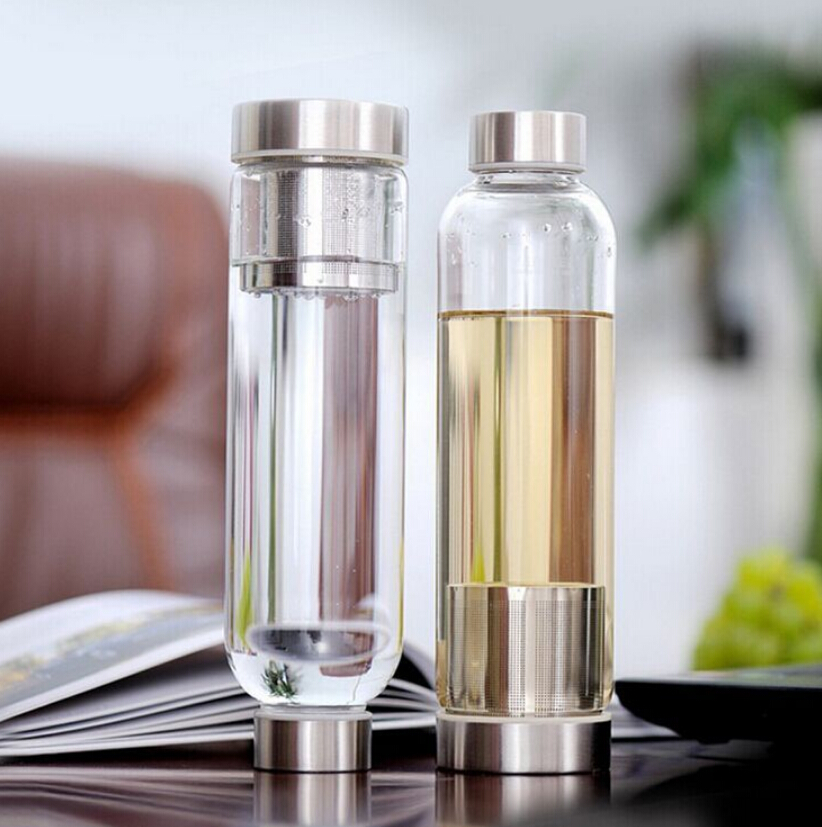 550ml Glass Sport Water Bottle With Tea Filter Infuser Protective Bag Fruit Outdoor Bpa Free Water Bottle With Bag(China (Mainland))