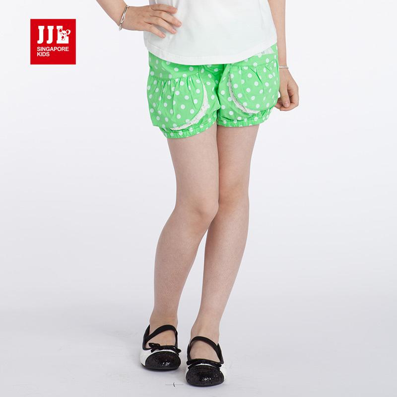 girls shorts kids pants half length girl cropped capered size 4-13 yrs children clothing polka dot fashion adj. waist - JJLKIDS store
