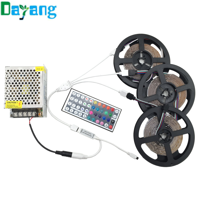 10M 5M 15M 20M 3528 LED Strip RGB Light Non waterproof DC12V kit include 44keys IR Remote Controller and AC110-220V Power Supply(China (Mainland))
