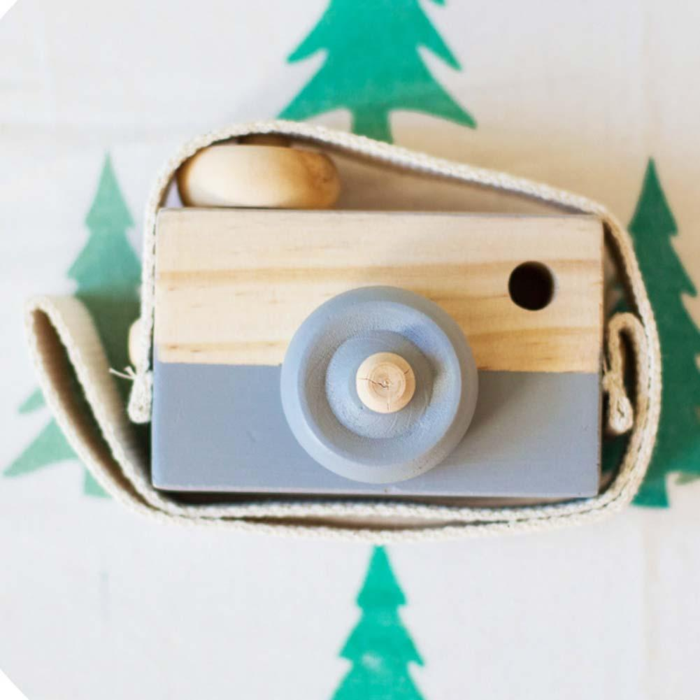 Baby Kids Cute Wood Camera Toys Children Fashion Clothing Accessory Safe And Natural Toys Birthday Christmas Gift Gray ACN
