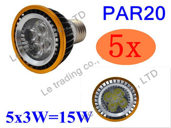 5Pcs/lot Par20 Led Lamp E27 Dimmable 5X3W 15W Spotlight Led Light Led Bulbs 85V-265V Energy Saving Free shipping