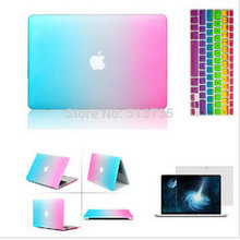 2016 Rainbow Matt Case cover+ silicone Protector keyboard Cover+ For Apple Mac Book air Pro 11 12 13 15 retina without logo