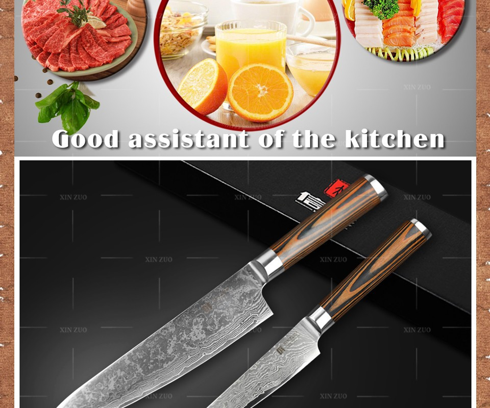 Buy XINZUO 2 pcs kitchen knives set Damascus kitchen knife high quality Japanese VG10 chef utility knife wood handle free shipping cheap