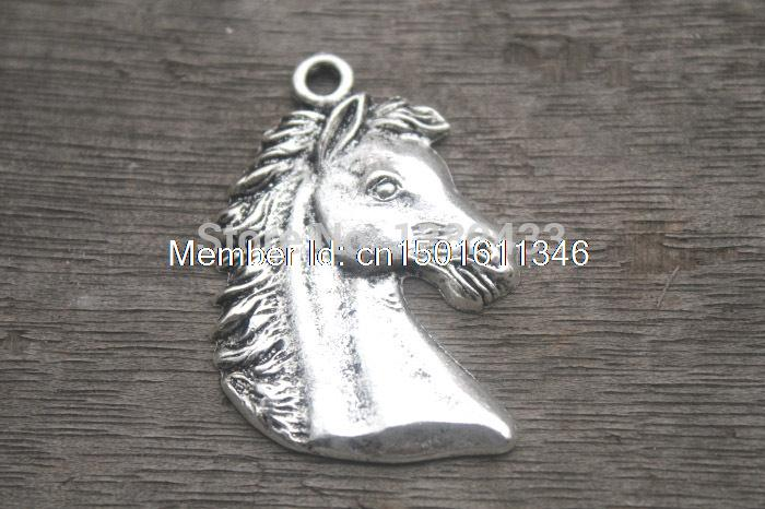 6 PCs - Horse Head Charm, Horse Pendants, Horse, Cowboy,, Western, Fittings, Accessories, DIY Supplies, Jewelry Making, 43*29MM(China (Mainland))