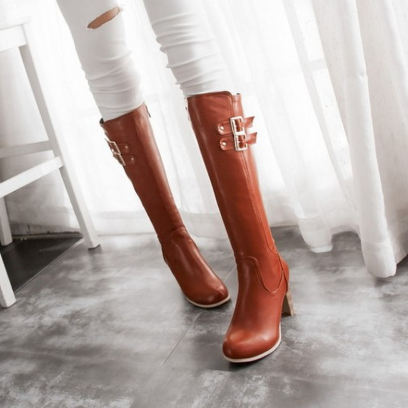 2015 Hot Sale Retro Round Toe Square Med Heel Elegant Woman Winter Knee High Boots Sexy Casual  Zip Solid Warm Fur Winter Boots