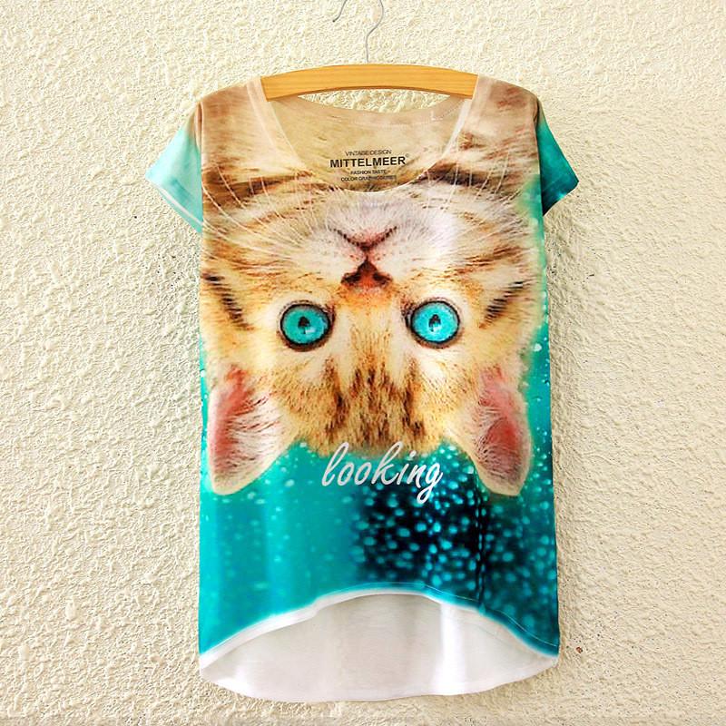 Summer Styles Fashion 2016 Print Inverted cat Shirts Women Novel 3D Top Best Friends T Shirt Causal Clothes Short Sleeve P118(China (Mainland))