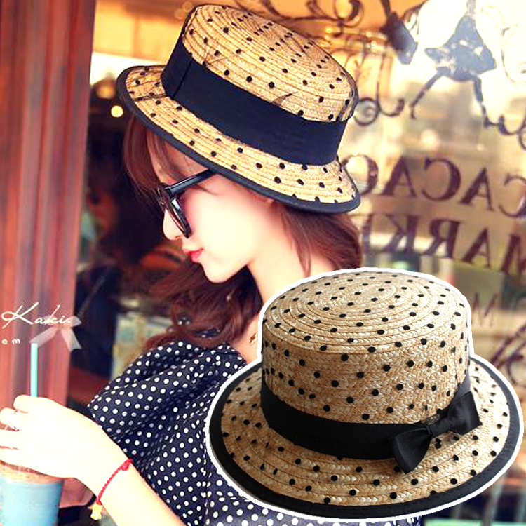 The little black bowknot straw hat holiday for women summer hat Fashion Lace pack beach hat women sun hat beautiful(China (Mainland))