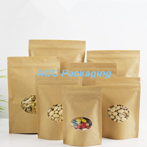 Wholesale 20*30cm Brown Kraft Paper Stand Up Packaging Bag W/ Clear Circular Window Doypack Pouch For Food Storage Zip Lock Bags(China (Mainland))