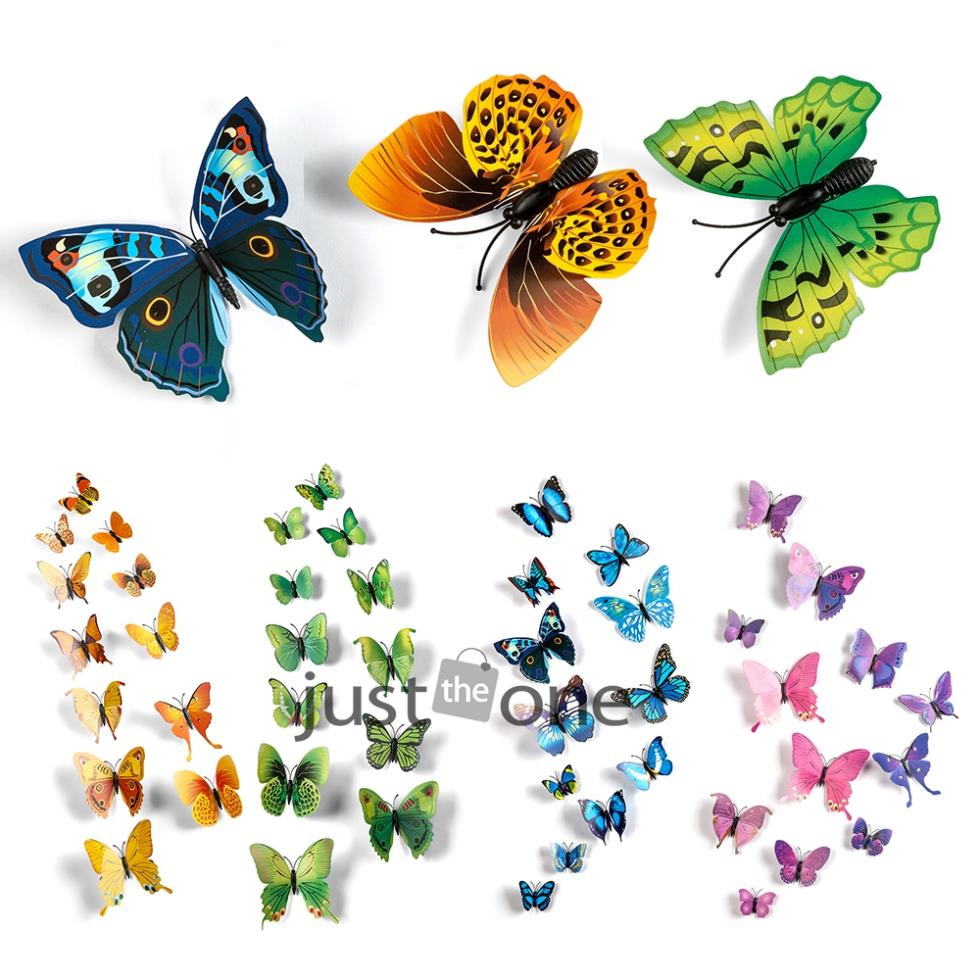 12 in 1 Vivid Pretty Butterfly Magnet for Home Decor Fridge Wall Sticker Decoration Wedding Wall Romantic Accessary 54(China (Mainland))