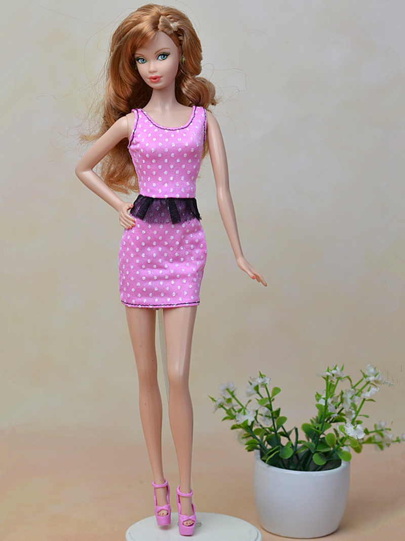 Pink Fashion Doll Clothes Fitting Mini Dress For Barbie Dolls One Piece Vestidos Party Dress For 1/6 BJD Doll Dress(China (Mainland))