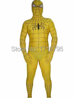 Yellow Spiderman Lycra Spandex Zentai Suit halloween costume Cosplay Party Prom Super HeroОдежда и ак�е��уары<br><br><br>Aliexpress