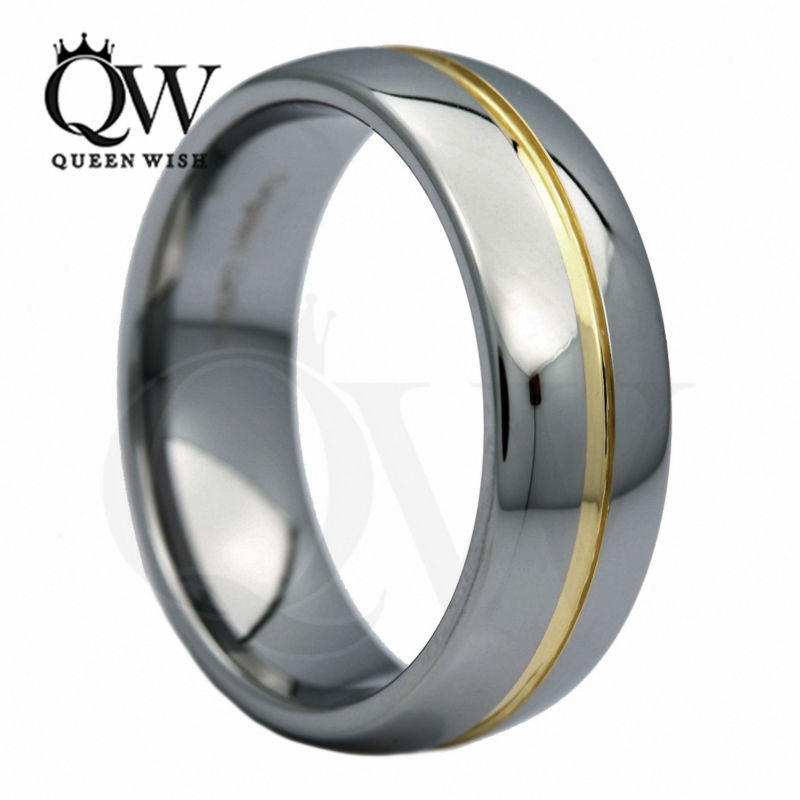 two tone wihte gold tungsten carbide 8mm comfort - Two Tone Wedding Rings