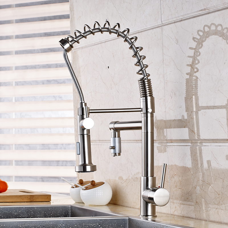Фотография Wholesale and Retail Swivel Spout Kitchen Sink Faucet Pull Out Mixer Tap Nickel Brushed Finished