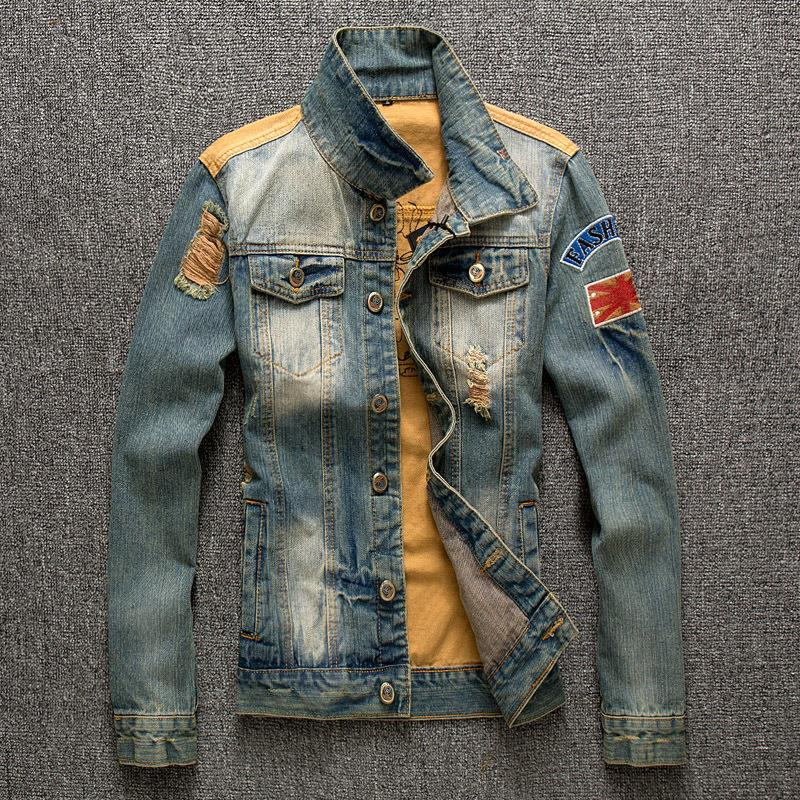 2016 Autumn New Hole Spell Denim Jacket Men Fashion Retro Jeans Men's Denim Jacket Mens Coat(China (Mainland))