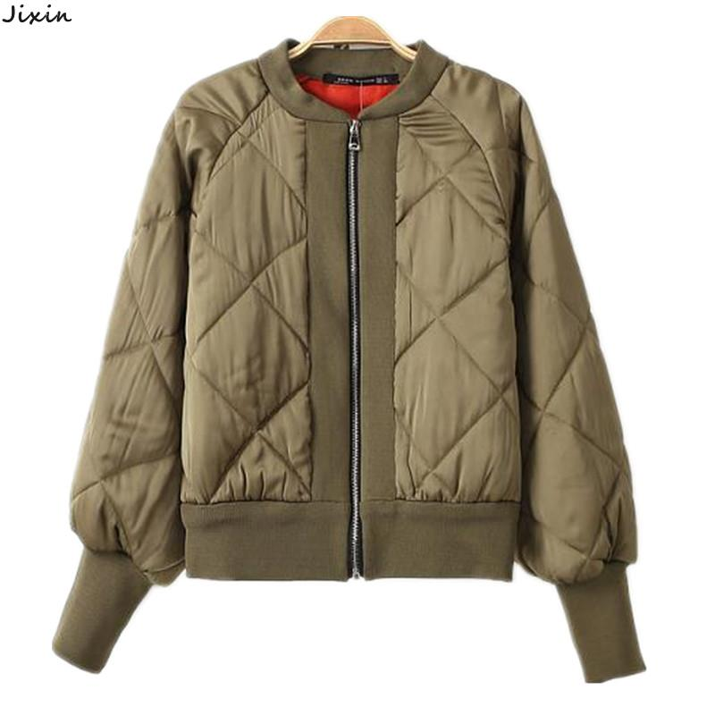 Winter Women Jacket And Coats Quilted Patchwork Thin padded Tight Mouth Long Sleeve Army Green Bomber Jacket chaquetas mujer(China (Mainland))
