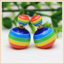 25 Colors Rainbow stripes Earrings Discount $0.69/Pair MOQ 1 Pair Cheapest Double Side Stud Earrings For Women(China (Mainland))