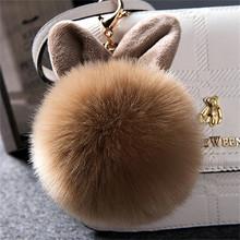 2019 pele pom pom chaveiros de pele de coelho falso bola chaveiro porte clef pompom fourrure saco macio encantos coelho chaveiro(China)