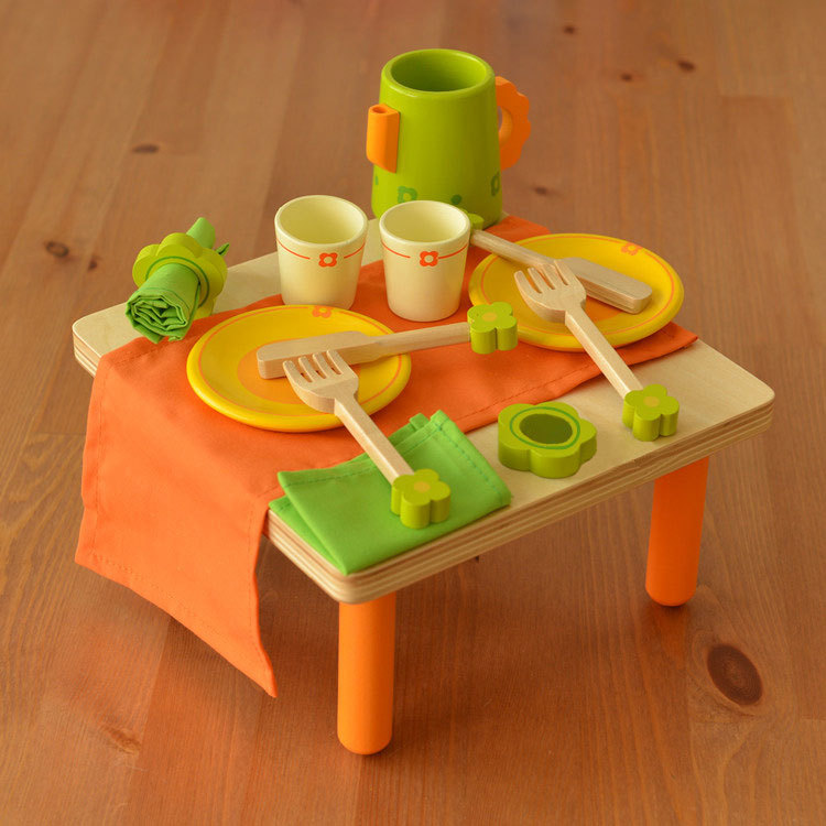 Baby toys child wooden tableware tea set kitchen toy for Small kitchen set for kids