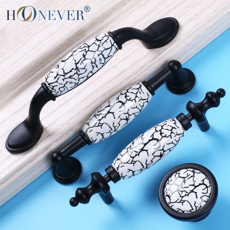 4pcs Country Style Door Handles Black Crack Drawer Pulls