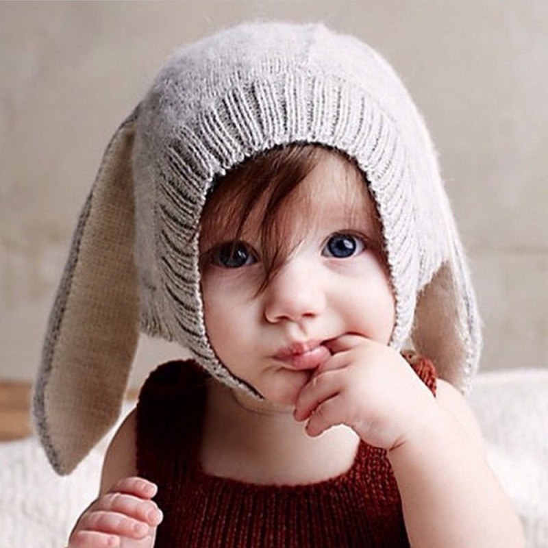 Baby Hats Rabbit Ears Knitted Kids Caps 2016 Autumn Winter Girls Lovely Infant Toddlers Beanies Photo Props  -  Milan Creations Flagship(Fashion Paradise store)