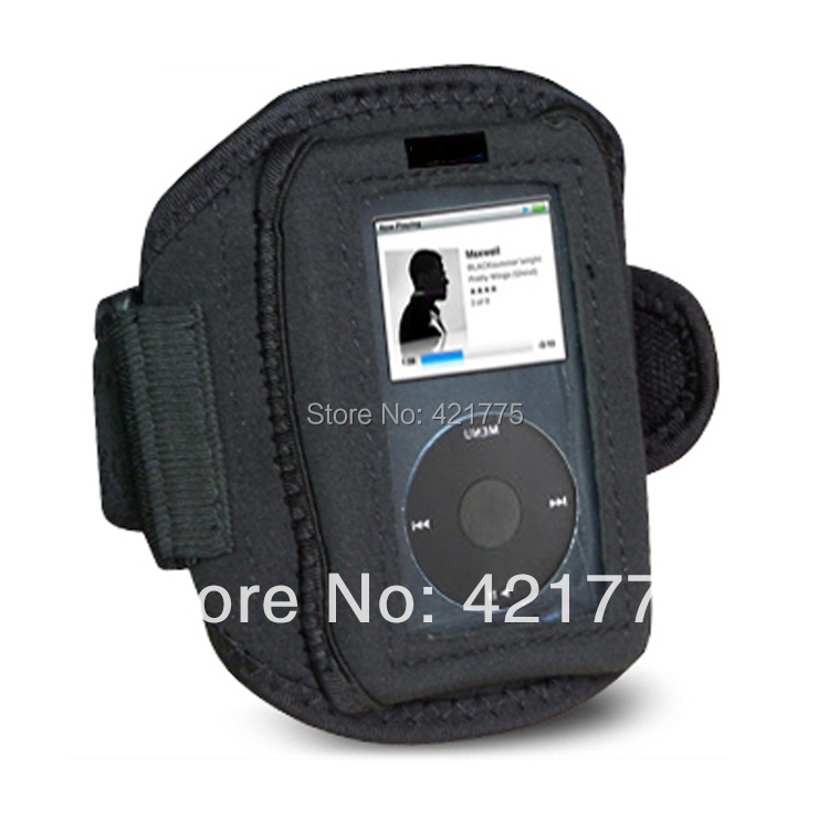 Wholesale ( 10 pcs / lot )Sport Fitness Armband Cover Case for Apple iPod Classic Black running jogging Free Shipping(China (Mainland))