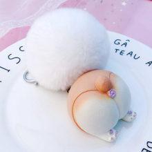 Bonito chaveiro animal corgi gato coelho hamster decoração chaveiro saco pingente charme criativo diversão chaveiro amantes melhor presente jóias(China)