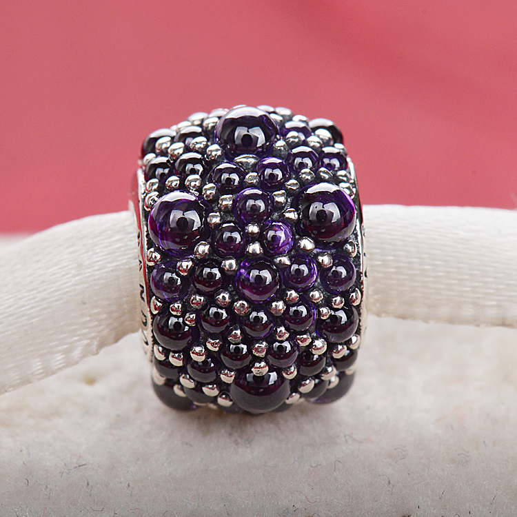 2016 new spring purple flashes droplets 925 silver beautiful zircon bracelet beaded leather cord(China (Mainland))