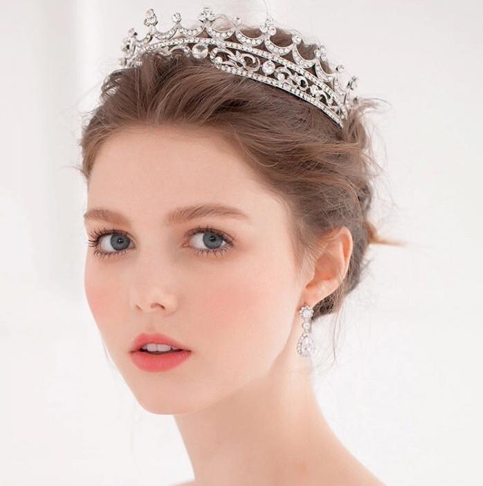 Gorgeous Sparkling Silver Plated Austrian Crystal Big Wedding Crown Hairband Bridal Tiara Accessories