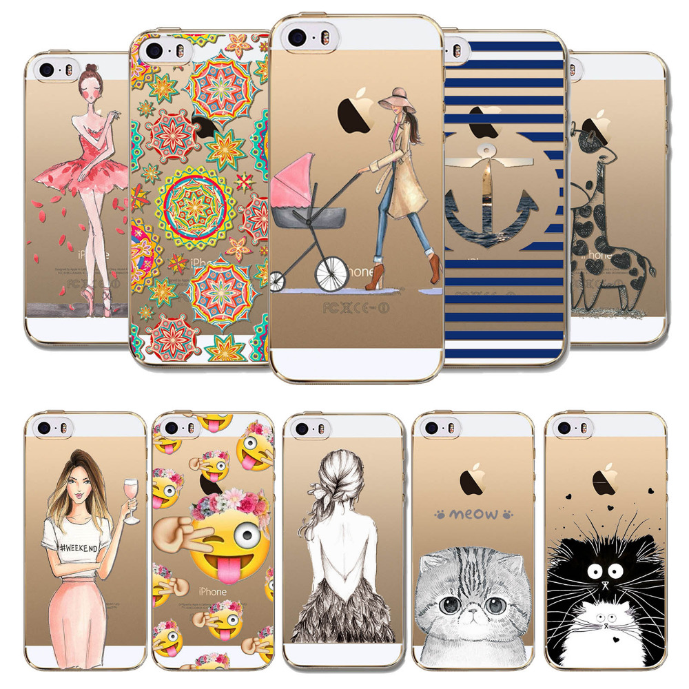 Phone Case Cover For iPhone 5 5S SE Ultra Soft Silicon Transparent Cute Fashion Girl Animals Emojio Patterns Mobile Phone Bag(China (Mainland))