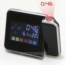 Hot Projection Weather LCD Digital Alarm Clock Color LED Backlight Digital Weather Display Projector Snooze Alarm Hours Clocks(China (Mainland))