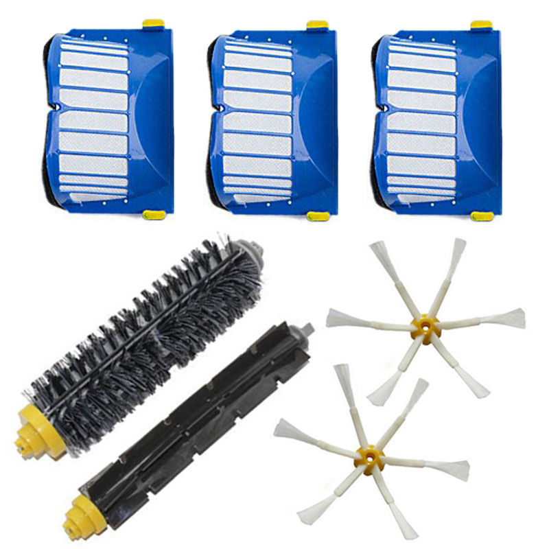 Free Shipping Aero Vac Filter + Side Brush 6 armed kit for iRobot Roomba 600 Series 620 630 650 660 Vacuum Cleaner Parts #0141(China (Mainland))