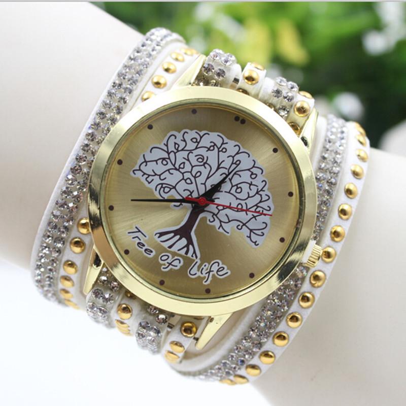 2016 Fashion Rhinestone Leather Tree of Life Friendship Bracelet Watch Rope GENEVA Watch Women Quartz Watches relogio feminino(China (Mainland))