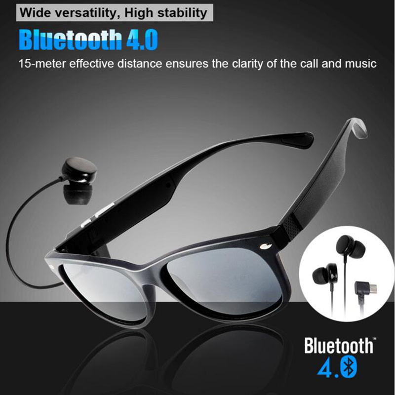 Wireless Bluetooth Sunglasses Earphone Polarized Sports Voice Control Music Smart Glass for Iphone Samsung Android Smartphones