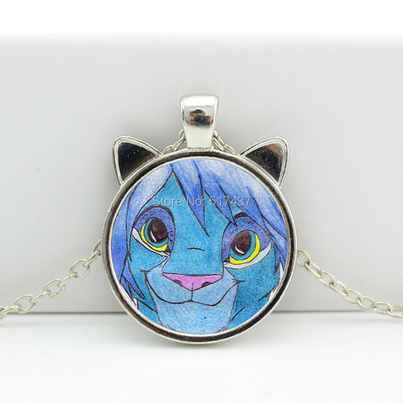 2016 New Lion Pendant Lion Necklace Glass Jewelry Glass Cabochon Necklace Pendant N-00616(China (Mainland))