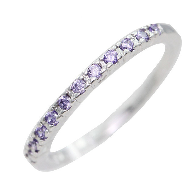 40% Off Cute Simple Engagement CZ Diamond Ring Style Silver Amethyst Wedding Jewelry Small Rings With Stones For Women A009(China (Mainland))