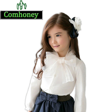 Baby Girls White School Blouse 100% Cotton Lace Bow Decorated Girl Blouse Fashion Kids Long Sleeve Shirts Infant Outwear(China (Mainland))