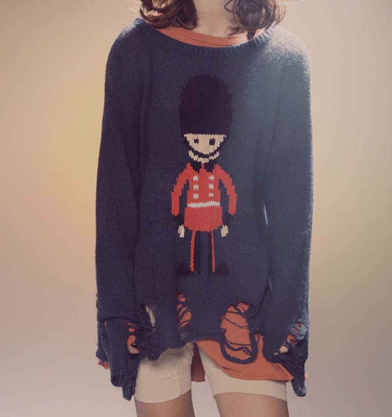 New 2015 autumn knitted sweaters women brand fashion cute cartoon man print pullover wildfox crochet sweater Nora30930(China (Mainland))