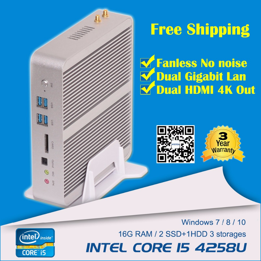 Free Vesa Mount ! Barebone System Intel Core i5 4258u WiFi optional Cloud Terminal Mini PC Station with Dual HD+Lan(China (Mainland))