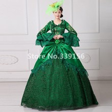 Green Victorian Lace Dress 18th Century Gown Vintage Women Dress Renaissance Historical Clothing(China)
