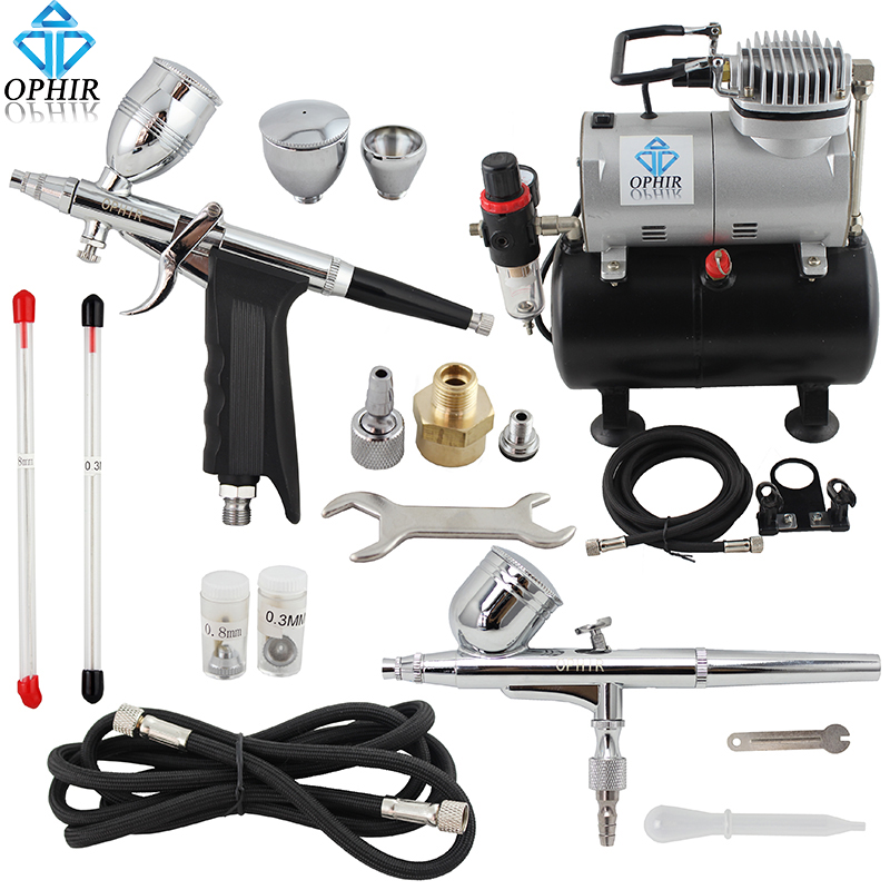 OPHIR Pro 2xDual Action Airbrush Kit Spray Gun Air Tank Compressor Kit for T-shirt Painting Hobby Tanning Tattoo#AC090+004A+069(China (Mainland))