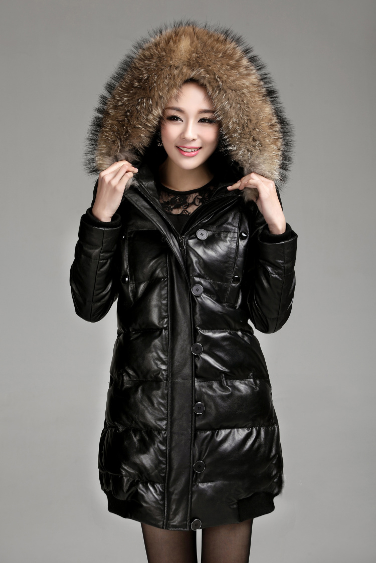 Leather Jacket With Fur Hood - Coat Nj