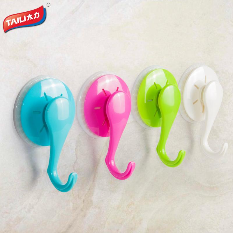 Plastic Hooks For Kitchen Towel Keys Handbag Hanger Hook For Holder Sucker Wall Hangers Bearing Strong Suction Hook(China (Mainland))