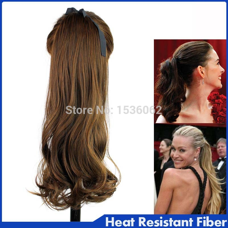 Best Selling !Heat Resistance Synthetic Hair pieces Ribbon Ponytail Clip in on wavy Hair Extension Ribbon Ponytails Hairpiece<br><br>Aliexpress