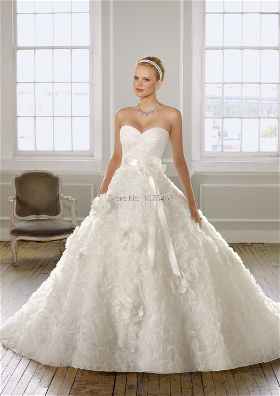 Free shipping luxury korean wedding dress ball gown for Wedding dress made of flowers